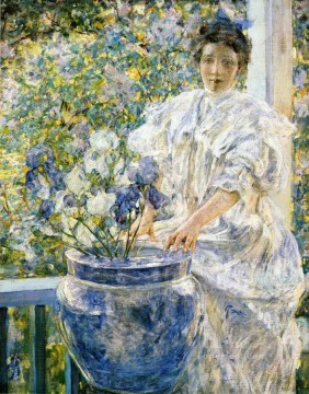 girl lady woman women Painting - Woman on a Porch with Flowers lady Robert Reid