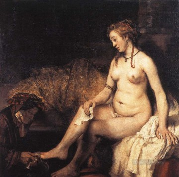 Bath Painting - Bathsheba at Her Bath Rembrandt