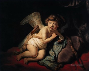 Rembrandt van Rijn Painting - Cupid Blowing Soap Bubbles Rembrandt