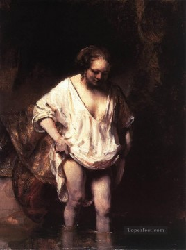 Bath Painting - Hendrickje Bathing in a River portrait Rembrandt