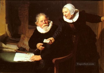Rembrandt van Rijn Painting - Jan Rijcksen And His Wife portrait Rembrandt
