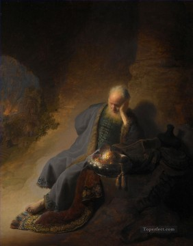Jeremiah Lamenting the Destruction of Jerusalem portrait Rembrandt Oil Paintings