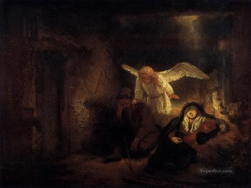 Dream Works - Joseph Dream in the Stable in Bethlehem Rembrandt
