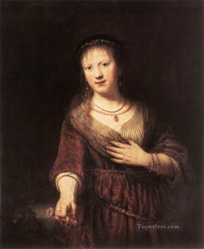 Rembrandt van Rijn Painting - Portrait of Saskia with a Flower Rembrandt