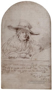 Saskia In A Straw Hat Rembrandt Oil Paintings