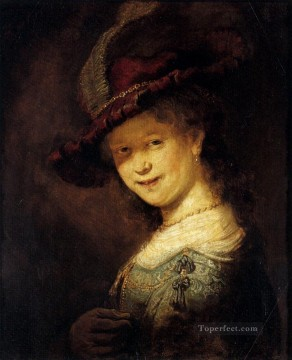 Saskia Laughing portrait Rembrandt Oil Paintings