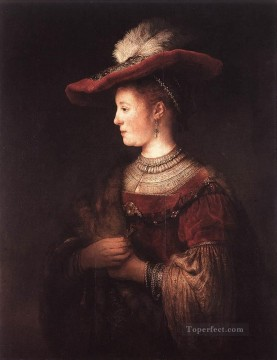 Rembrandt van Rijn Painting - Saskia in Pompous Dress portrait Rembrandt