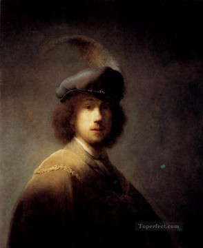 Rembrandt van Rijn Painting - Self Portrait In A Plumed Hat Rembrandt