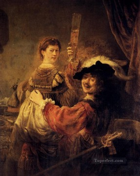 Rembrandt van Rijn Painting - Self Portrait With Saskia Rembrandt