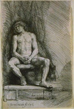 Rembrandt van Rijn Painting - Study from the Nude Man Seated before a Curtain SIL Rembrandt