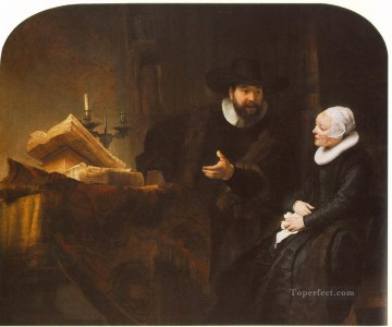 Rembrandt van Rijn Painting - The Mennonite Minister Cornelis Claesz Anslo in Conversation with his Wife Aaltje Rembrandt
