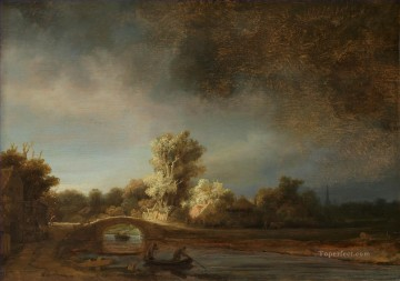 Rembrandt van Rijn Painting - The Stone Bridge 1638 Rembrandt