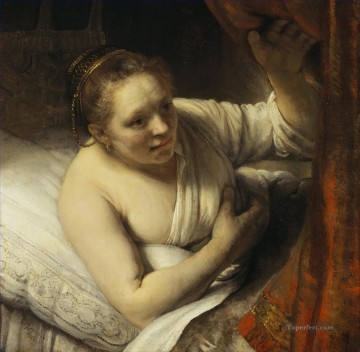 Woman in bed Rembrandt Oil Paintings