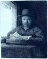 drawing at a window portrait Rembrandt