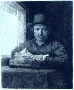 Rembrandt van Rijn Painting - drawing at a window portrait Rembrandt