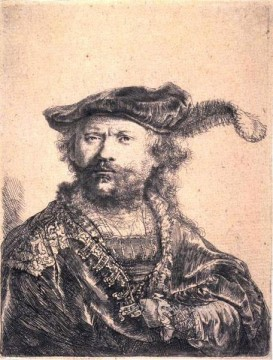 in Velvet Cap and Plume SIL portrait Rembrandt Oil Paintings