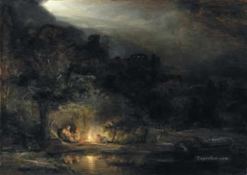 Rembrandt van Rijn Painting - Rest on the Flight to Egypt Rembrandt