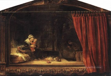 Family Painting - The Holy Family with a Curtain Rembrandt