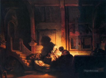 Rembrandt van Rijn Painting - The holy family night Rembrandt
