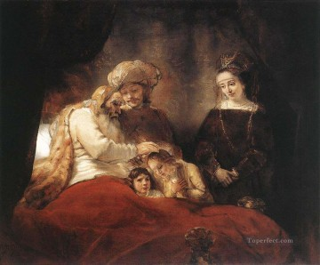 Rembrandt van Rijn Painting - Jacob Blessing the Children of Joseph Rembrandt