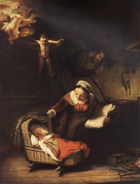 Family Painting - The Holy Family with Angels Rembrandt