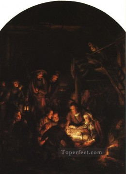 Adoration Art - Adoration of the Shepherds Rembrandt