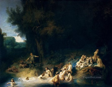 Diana Bathing With The Stories Of Actaeon And Callisto Rembrandt Oil Paintings