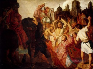 1625 Painting - The Stoning Of St Stephen 1625 Rembrandt