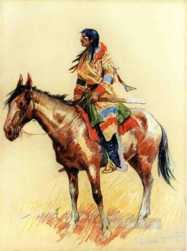 Remington Painting - A Breed Old American West cowboy Indian Frederic Remington