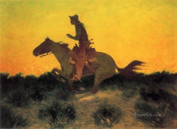 Frederic Remington Painting - Against the Sunset Old American West Frederic Remington