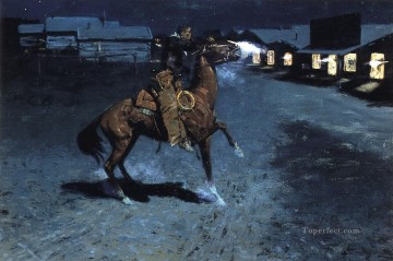 Remington Painting - An Arguement with the Town Marshall Old American West Frederic Remington