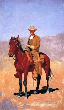 Frederic Remington Painting - Mounted Cowboy in Chaps with Race Horse Old American West Frederic Remington