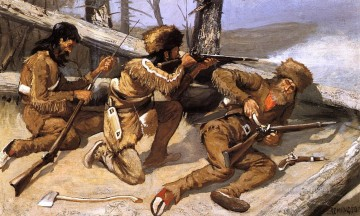 Remington Painting - A Brush with the Redskins Old American West Frederic Remington