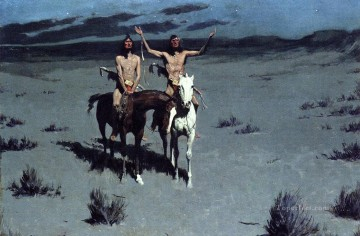 Frederic Remington Painting - Pretty Mother of the Night Old American West cowboy Indian Frederic Remington