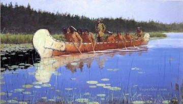 Remington Painting - Radisson and Groseilliers Old American West Frederic Remington