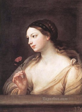 Girl Works - Girl with a Rose Baroque Guido Reni