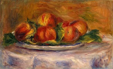 Pierre Auguste Renoir Painting - peaches on a plate still life Pierre Auguste Renoir