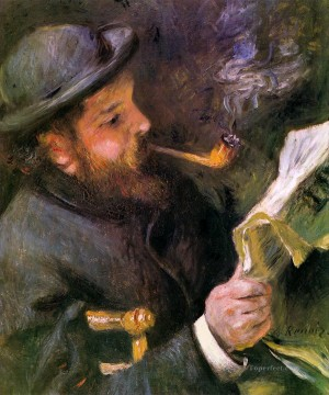 new orleans Painting - Claude Monet Reading A Newspaper master Pierre Auguste Renoir