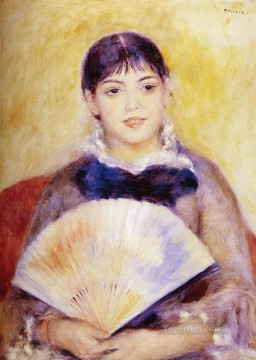 Girl With A fan master Pierre Auguste Renoir Oil Paintings