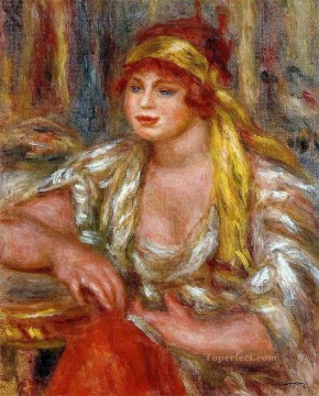 andree in yellow turban and blue skirt Pierre Auguste Renoir Oil Paintings