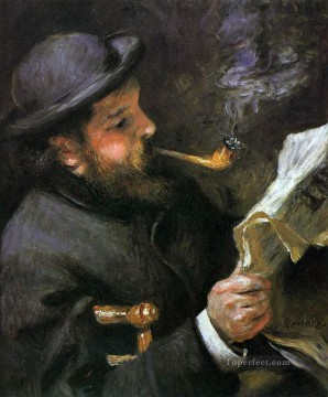 Pierre Auguste Renoir Painting - claude monet reading Pierre Auguste Renoir