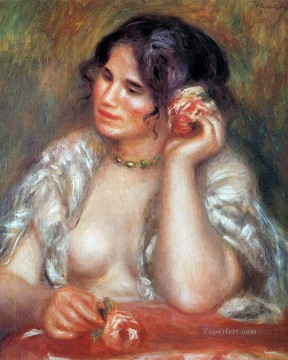 rose roses Painting - gabrielle with a rose Pierre Auguste Renoir
