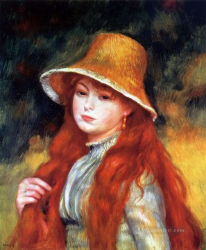 girl with a straw hat Pierre Auguste Renoir Oil Paintings