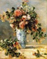 roses and jasmine in a delft vase flower Pierre Auguste Renoir