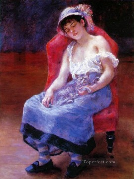 sleep Painting - sleeping girl with a cat Pierre Auguste Renoir