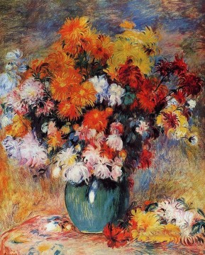 vase of chrysanthemums Pierre Auguste Renoir Oil Paintings