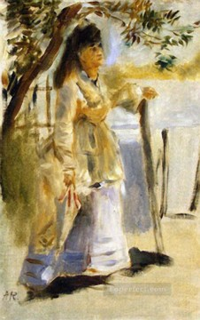 Pierre Auguste Renoir Painting - woman by a fence Pierre Auguste Renoir