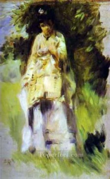 Pierre Auguste Renoir Painting - woman standing by a tree Pierre Auguste Renoir