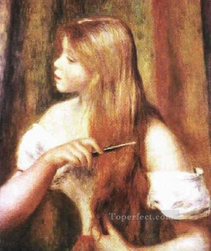 young girl combing her hair Pierre Auguste Renoir Oil Paintings