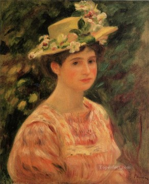 young woman wearing a hat with wild roses Pierre Auguste Renoir Oil Paintings